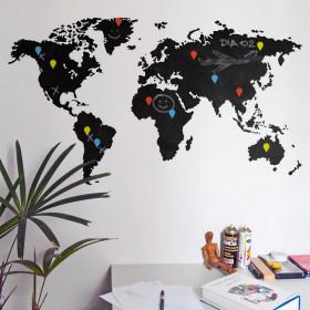 Adesivo de Parede Lousa Mapa Mundi
