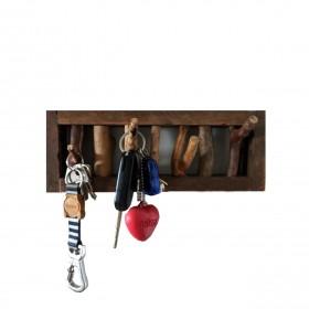 Porta-Chaves e Cabideiro de Madeira com 4 ganchos Galhada