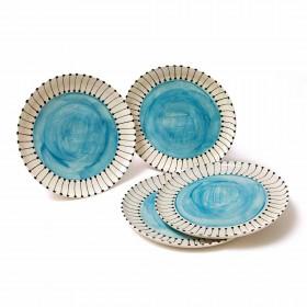 Conjunto 4 Pratos Rasos - Azul Celeste