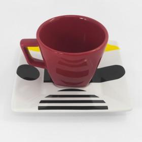 Conjunto de 6 Xícaras de Chá Geometria Inesperada com Pires Quadrado