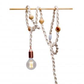 Cordão de Luz em Macramê Wood Balls