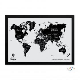 Meu Mapa de Viagem Preto com alfinetes