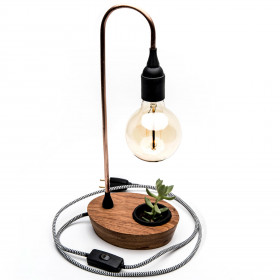 Luminária em Cobre e Madeira de Lei Argelim Pedra Umbrella