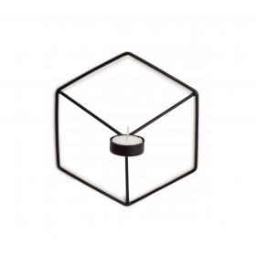 Porta Velas Aramado Preto Cube