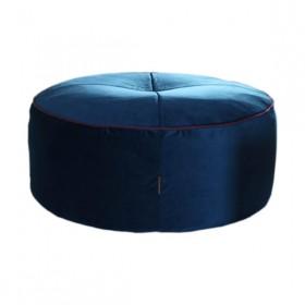 Pufe Redondo Veludo Azul