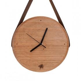 Relógio de Madeira com Alça de Couro Pêndulo