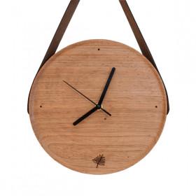 Relógio de Madeira com Alça de Couro Pêndulo - ENTREGA IMEDIATA