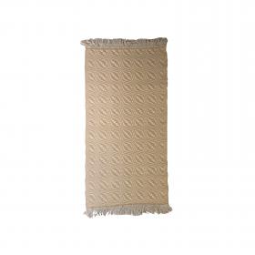 Tapete bicolor Cotton - Arado (amarelo e cru com franjas)