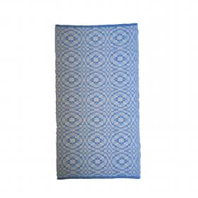 Tapete bicolor Cotton - Ladrilho (azul e cru)