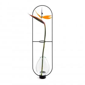 Vaso em Latão, Aço Inox e Vidro Elo M - Preto