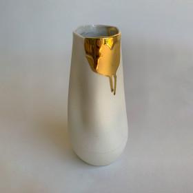 Vaso em Porcelana - Série Movimentos Dourados