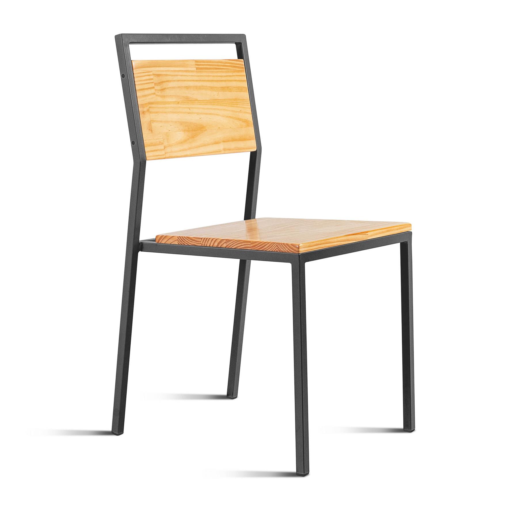 Cadeira em Aço e Madeira Benteví