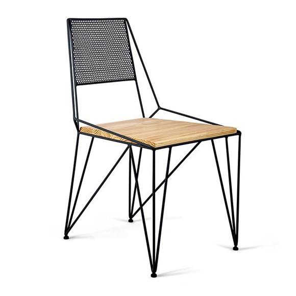 Cadeira em Aço e Pinus Ema