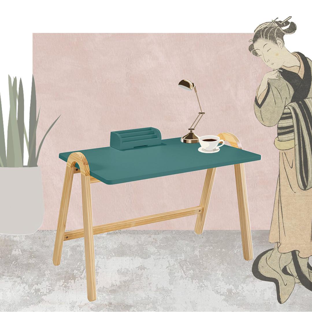 Escrivaninha com Estrutura em Madeira Maciça Loa