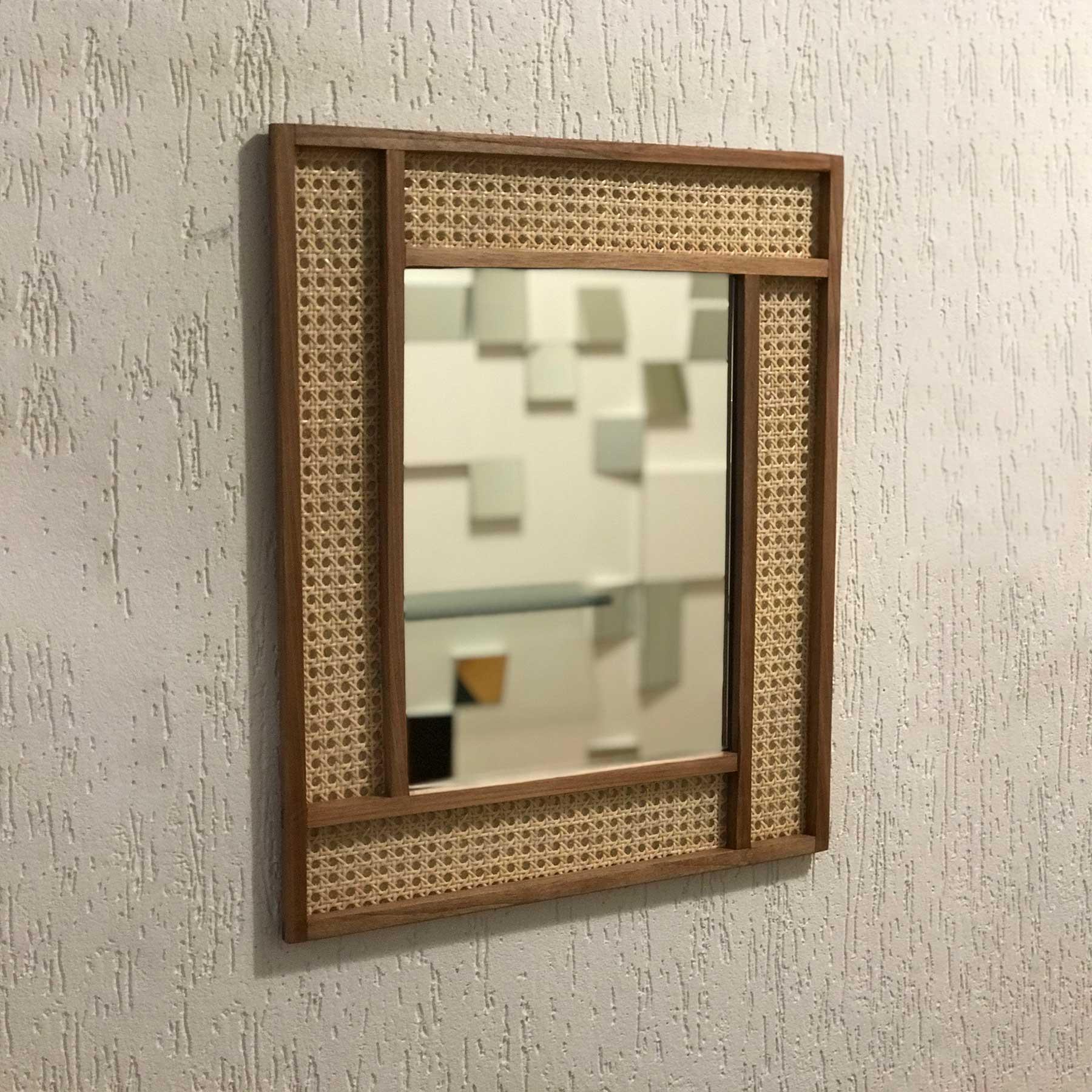 Espelho em Madeira Maciça Jequitibá-Rosa e Palha Indiana Bilac