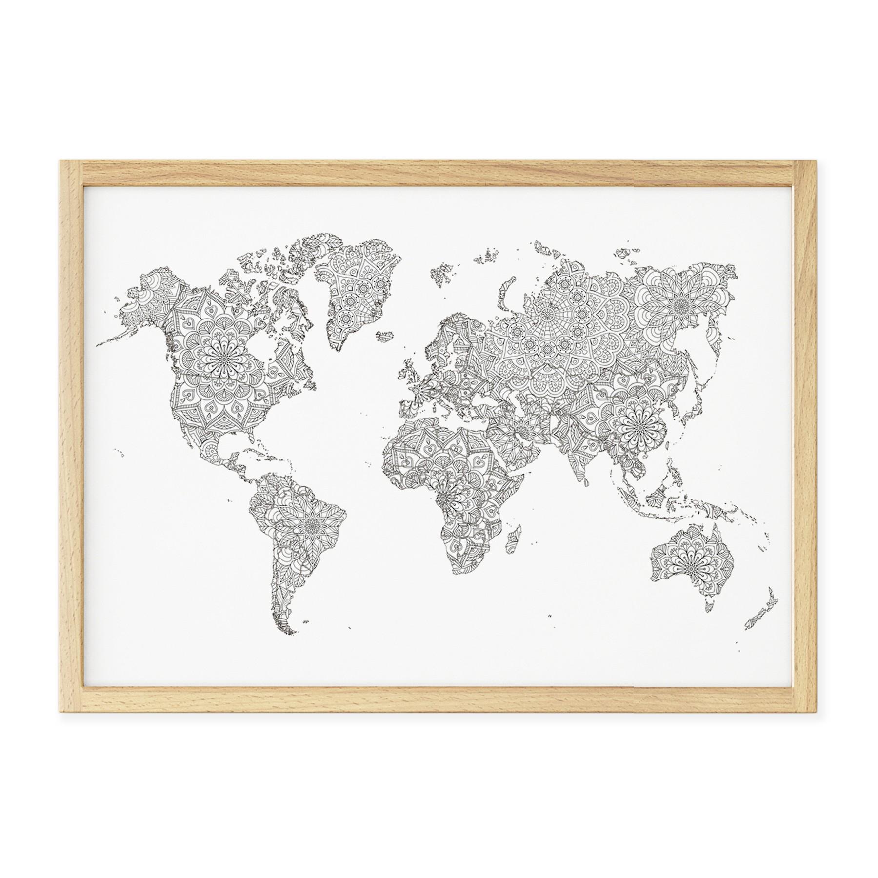mapa mandala para colorir quadros cartazes e placas decorativas
