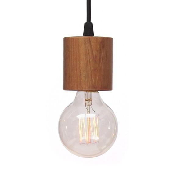 Luminária Pendente em Madeira Jequitibá Modelo Cordel