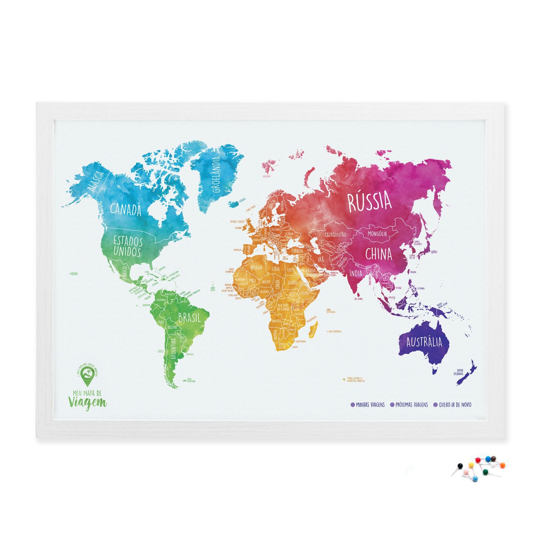 meu mapa de viagem aquarela com alfinetes hometeka