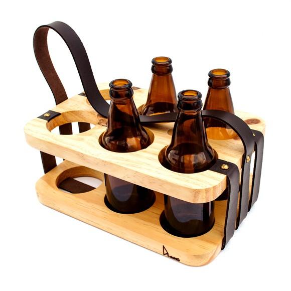 Pack para Bebidas em Madeira e Couro Andarilho