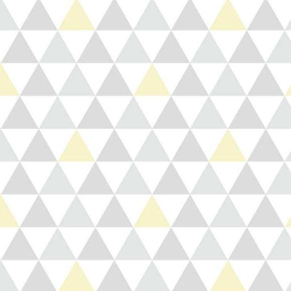 papel de parede adesivo triangulinho amarelo hometeka