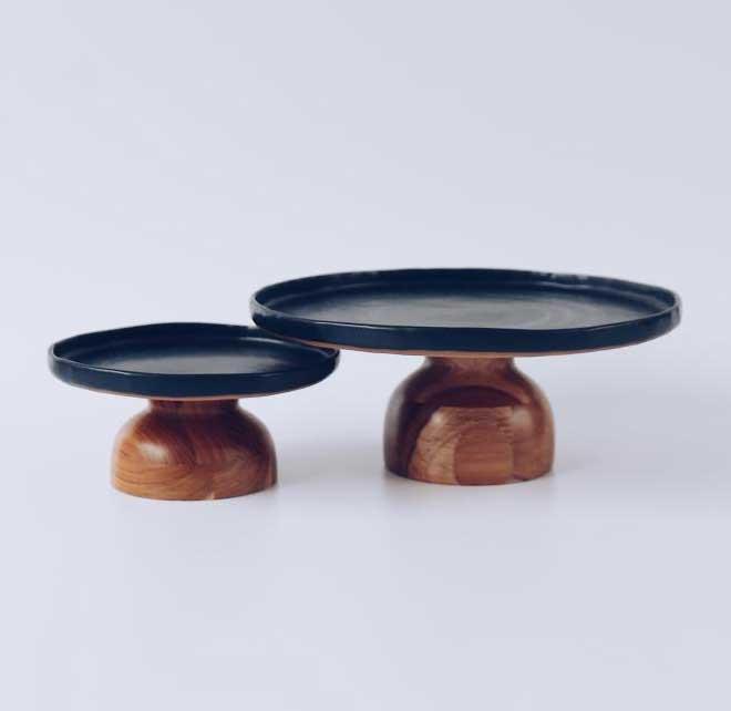 Prato em Cerâmica para Bolo Black
