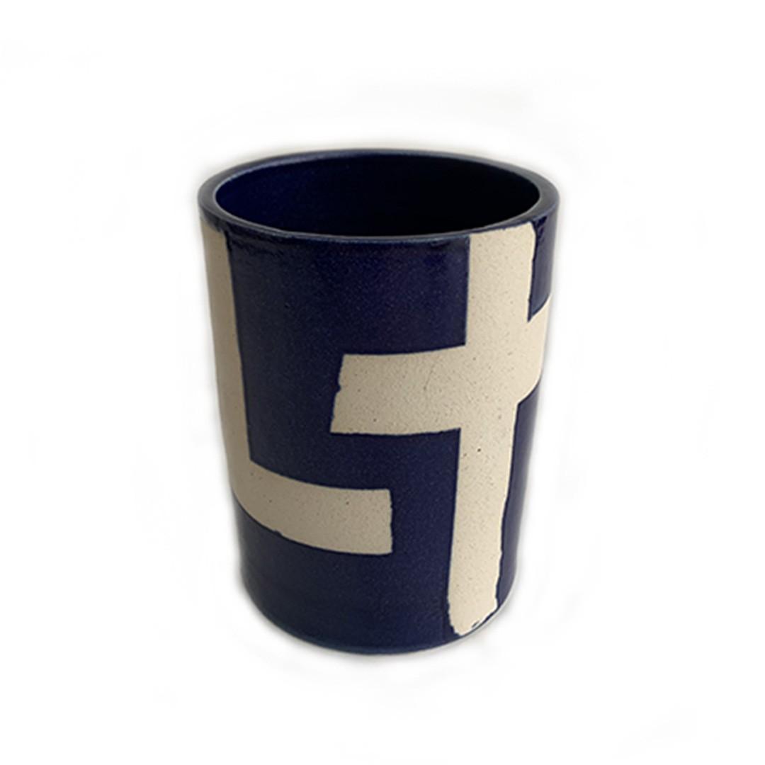 Vaso de Cerâmica Geométrico Reto Baixo