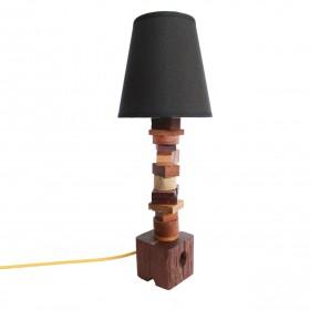 Luminária Abajur em Madeira Reaproveitada Toquinhos