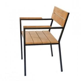 Cadeira em Madeira e Aço com Apoio de Braço Hertz