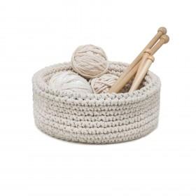 Cesta em Crochet Artesanal Baixa Cru String