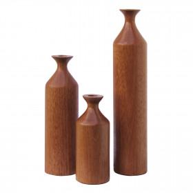 Conjunto de Vasos em Madeira Torneada Garrafa