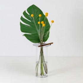 Conjunto de Vasos em Vidro Alumínio e Madeira Itabira