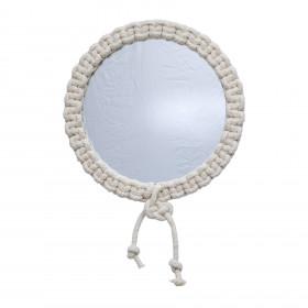 Espelho Redondo em Macramê Antúrio