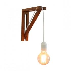 Luminária de Parede Arandela em Madeira e Lâmpada Pendente 2x2 Pequena