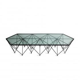 Mesa em Aço e Tampo de Vidro Prisma