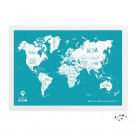 Meu Mapa de Viagem Turquesa com alfinetes