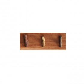 Suporte e Porta-Chaves de Madeira com 3 Ganchos