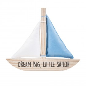 Plaquinha de Madeira Barco - Dream Big, Little Sailor