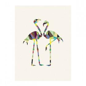 Poster Flamingos Geométricos A3