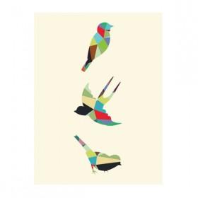 Poster Pássaros Geométricos A3