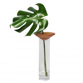 Vaso em Vidro e Madeira Baobá M