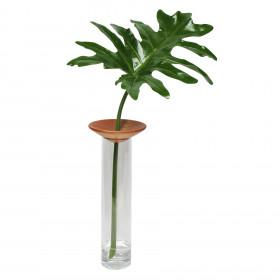 Vaso em Vidro e Madeira Baobá G