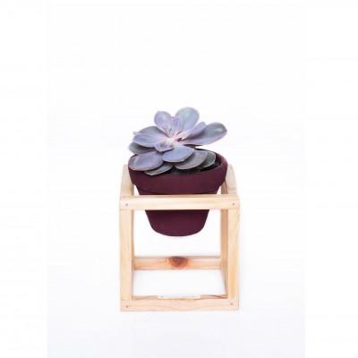 Vaso Cerâmica Nº01 em Suporte de madeira