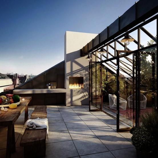 Terraço é um dos destaques do apartamento.