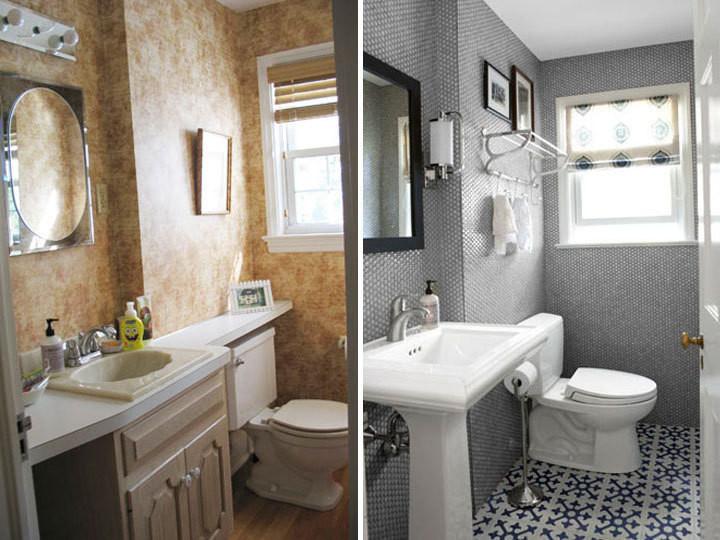 Antes e Depois Dicas de reforma de banheiros e lavabos -> Reforma De Banheiro Simples E Barato