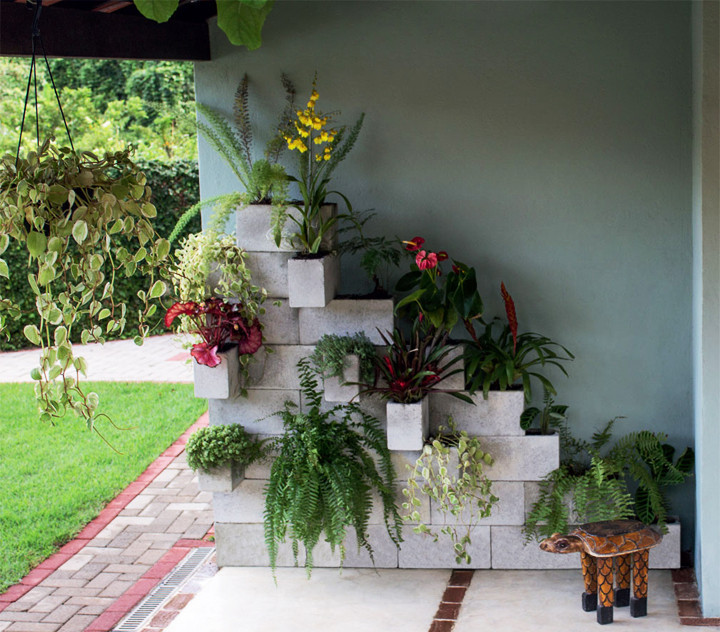 20 ideias de decora o e jardins com blocos de concreto for Jardineria decorativa