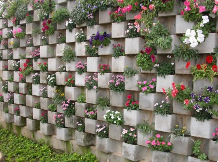 20 ideias de decora o e jardins com blocos de concreto for Jardines redondos pequenos