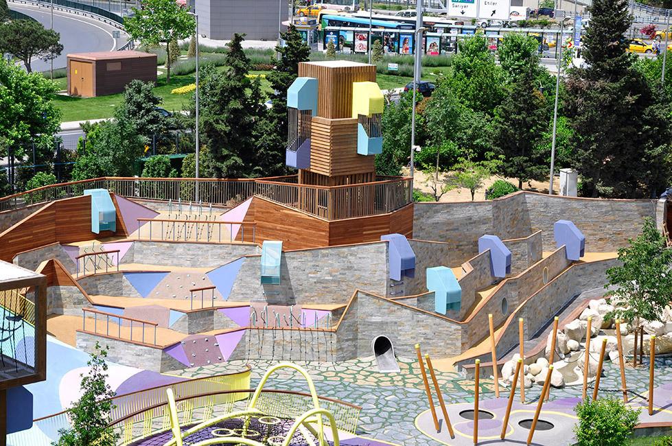 Projeto arquitetônico de playground colorido