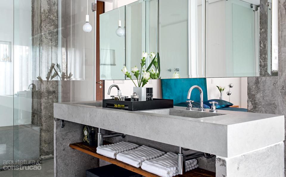 Bancadas no banheiro 14 dicas de materiais e projetos para se inspirar -> Como Fazer Pia De Banheiro Com Cimento Queimado