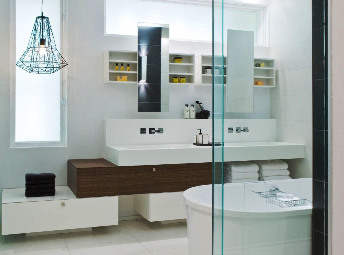 Bancadas no banheiro: 14 dicas de materiais e projetos para se  #437176 1200x892 Bancada Banheiro Corian
