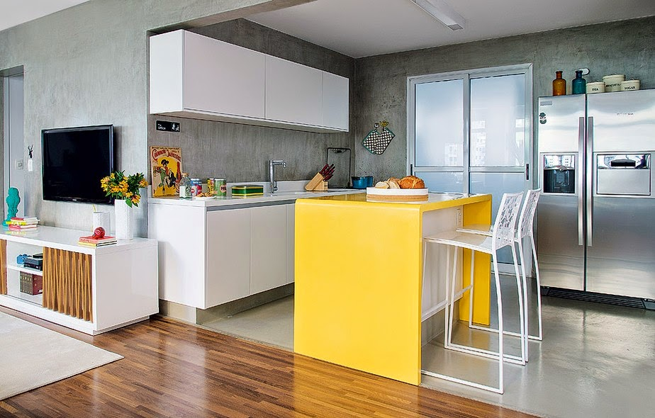 cozinha piso cinza
